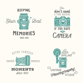 Vintage camera photography labels or logos with retro typography