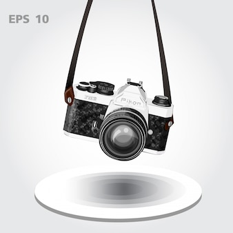 Vintage camera or retro camera vector