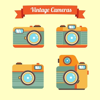 Vintage cameras in flat design with stripes