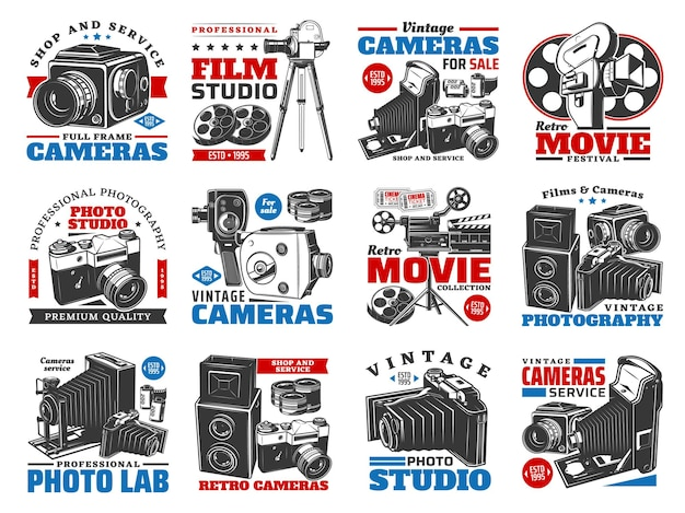 Vintage cameras for photo and video shooting illustration design