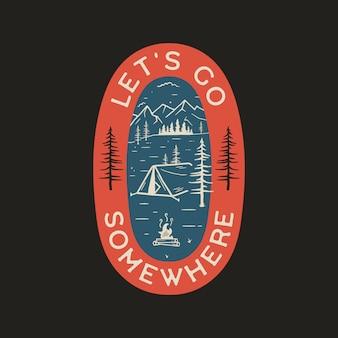 ビンテージキャンプのロゴ、山のバッジ。手描きのラベルデザイン。旅行遠征、放浪癖、ハイキング。どこかに行く屋外のエンブレム。旅行のロゴタイプ。株式 。