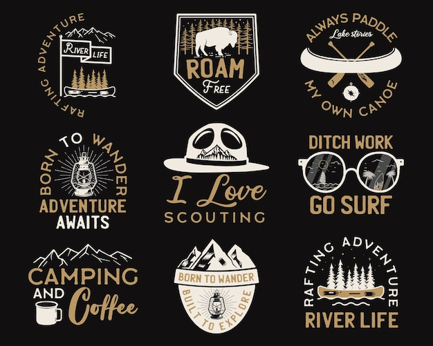 Vintage camp logos, mountain adventure badges set.