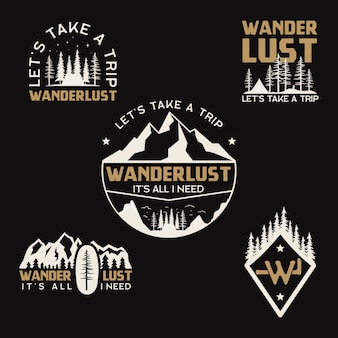 Vintage camp logos, mountain badges set. hand drawn labels designs. travel expedition, wanderlust and backpacking. outdoor hiking emblems. logotypes collection. stock