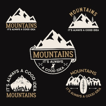 Vintage camp logos, mountain badges set.