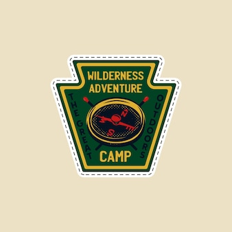 Vintage camp patch logo, mountain wildlife badge with compass and matches