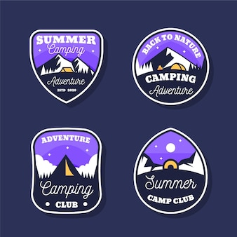 Vintage camping and adventures badge set