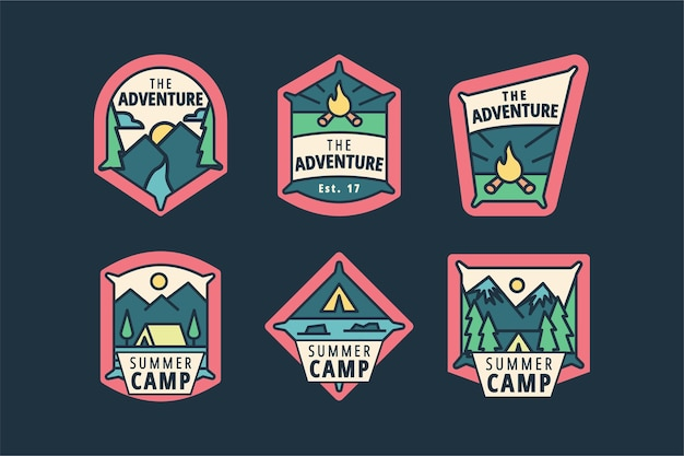 Vintage camping & adventures badges pack
