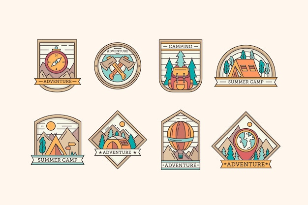 Vintage camping & adventures badges template collection