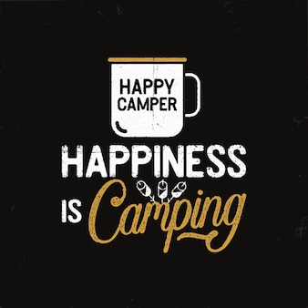 Vintage camping badge in retro style with mug and text