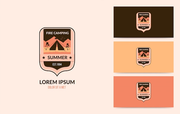 Vintage camping badge set