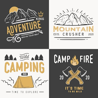 Vintage camping badges logos set.