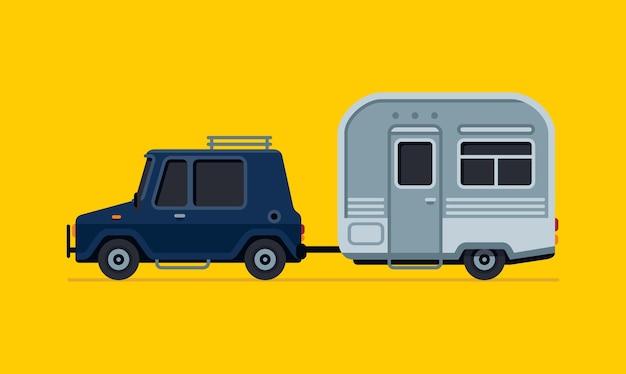 トレーラーベクトルイラストとヴィンテージキャンプ