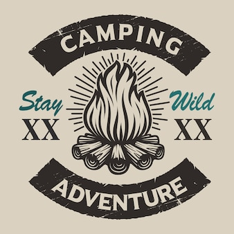 Vintage camping  emblem with a bonfire. perfect for logos, shirt design and many other