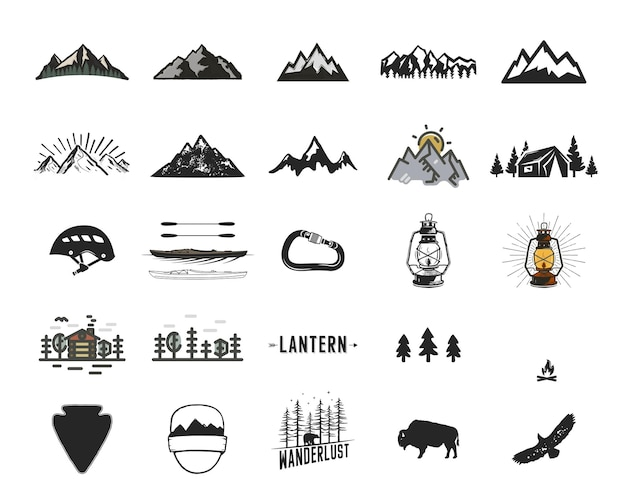Vintage camping icons and adventure symbols illustrations set. hiking shapes of mountains, trees, wild animals and others. retro monochrome design. can be used for t shirts, prints. stock vector.