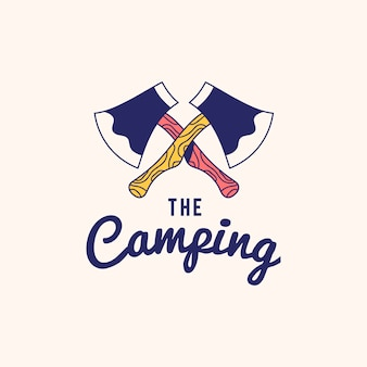 Vintage the camping logo text design vector