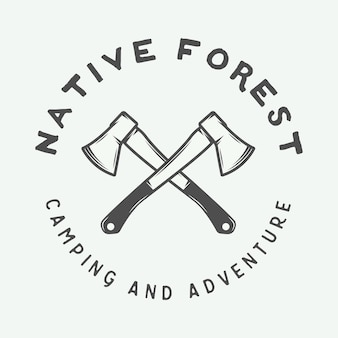 Vintage camping outdoor and adventure logo badge label