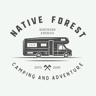 ヴィンテージキャンプアウトドアと冒険のロゴバッジラベルエンブレムマークグラフィックアートベクトル