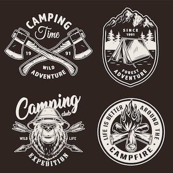 Distintivi di stagione campeggio vintage