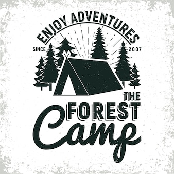 Vintage camping or tourism logo design,  grange print stamp, creative typography emblem
