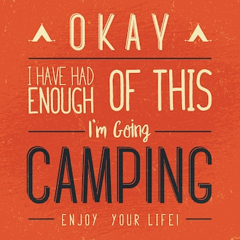 Vintage camping typography illustration