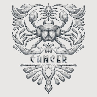 Vintage cancer zodiac