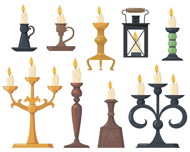 Vintage candles in candlesticks flat set. cartoon elegant victorian candelabras and retro holders for candles isolated vector illustration collection. design elements and decoration concept