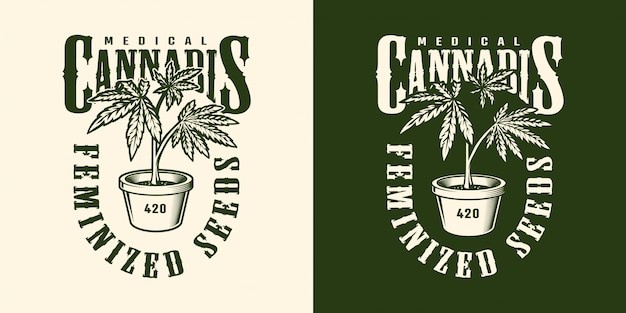 Vintage cannabis flower label template