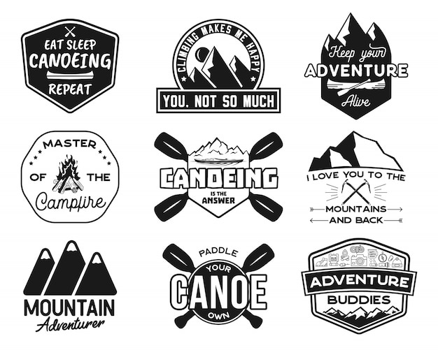 Vintage canoe and kayaking logos set