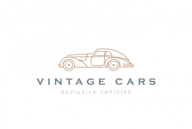 Vintage car abstract logo linear vector icon