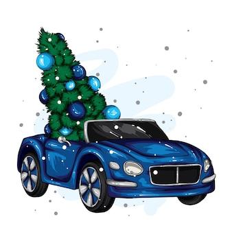 Винтажный автомобиль и новогодняя елка.