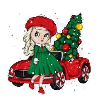 Винтажный автомобиль, красивая девушка и новогодняя елка.
