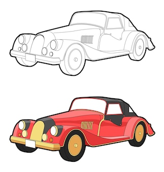 Vintage car cartoon coloring page for kids