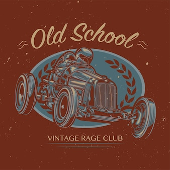 Club di auto d'epoca. illustrazione disegnata a mano.