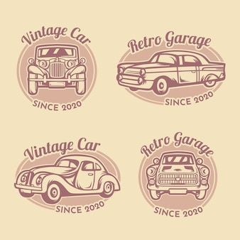 Vintage car garage logo template