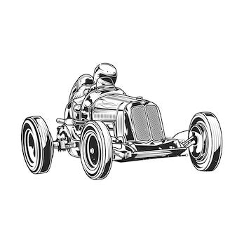 ヴィンテージカー。手描きイラスト。