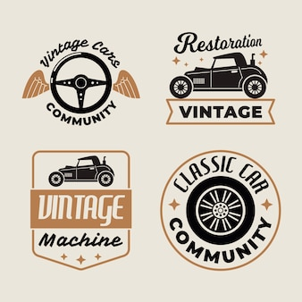 Vintage car logo collection concept