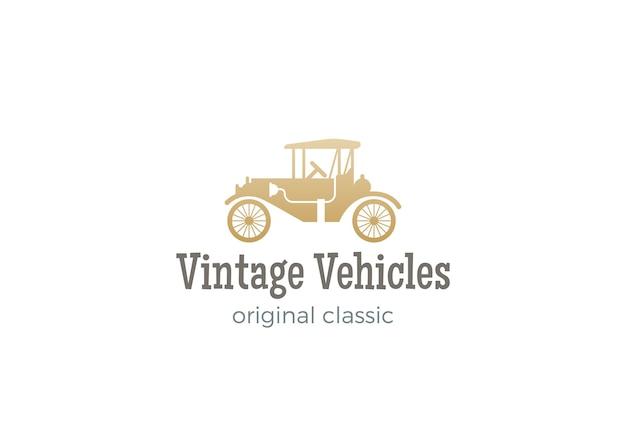 白で隔離のヴィンテージカーのロゴ