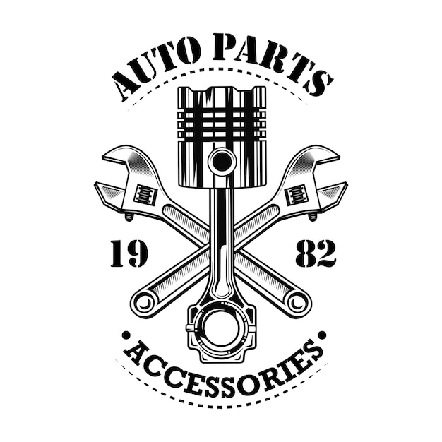 Vintage car parts vector illustration. chrome piston, crossed wrenches build, auto parts and accessories text. car service or garage concept for emblems