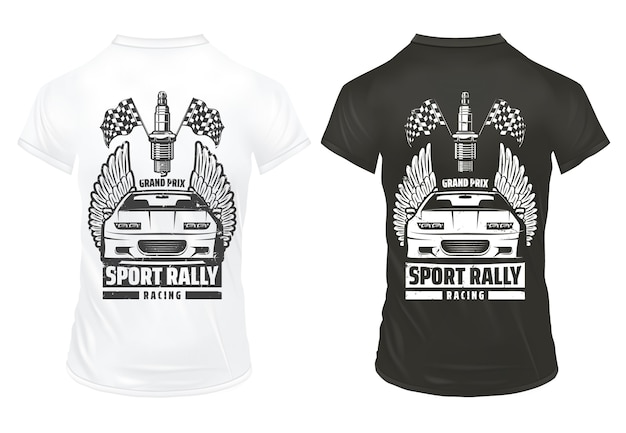 Vintage car racing prints template with inscription sport automobile finish flags spark plug on shirts isolated