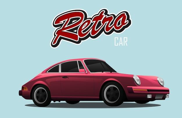 Старинная машина. красный спортивный автомобиль. с знаком ретро автомобилей.
