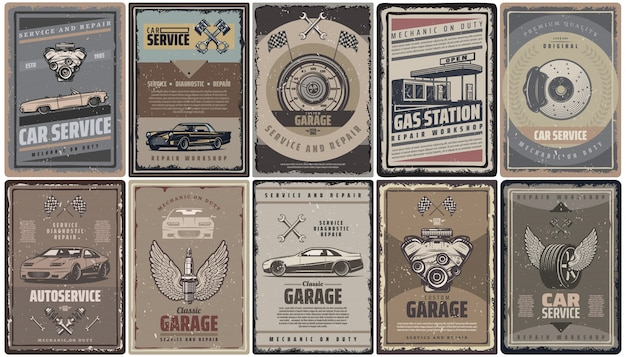Коллекция брошюр с винтажными автосервисами с поршнями двигателя ретро-автомобилей, флагами азс и изолированными автозапчастями