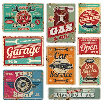 Vintage car service and gas station vector metal signs