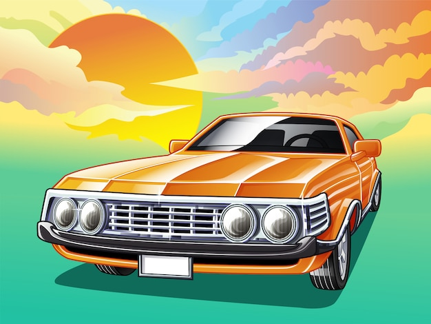 Vintage car on sky background in cartoon style.
