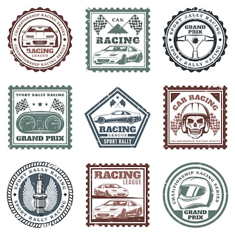 Vintage car sport racing stamps set with inscriptions automobiles steering wheel dashboard skull helmet spark plug flags isolated