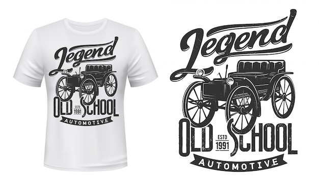 Vintage car t-shirt print mockup, retro automobile