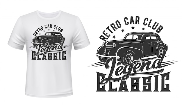 Vintage car for t-shirt print