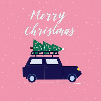 Vintage car with christmas tree, great design for any purposes. vintage style illustration. merry christmas. Premium Vector