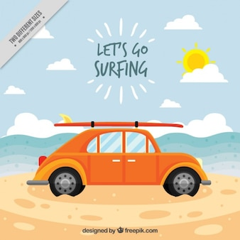 Vintage car with a surfboard on the beach background