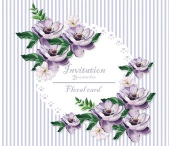 ヴィンテージカード美しい紫色の花。花柄の背景