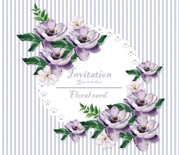 Vintage card beautiful purple flowers. floral pattern backgrounds